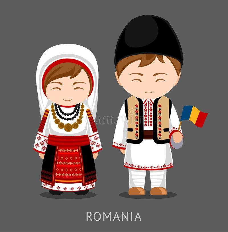Romanians no vestido nacional com uma bandeira ilustração stock