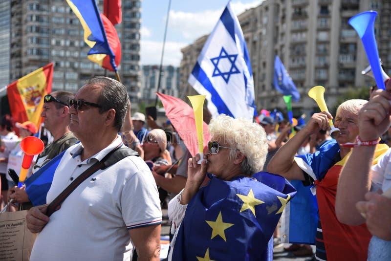 Romanians od zagranica protesta przeciw rzędowi fotografia royalty free
