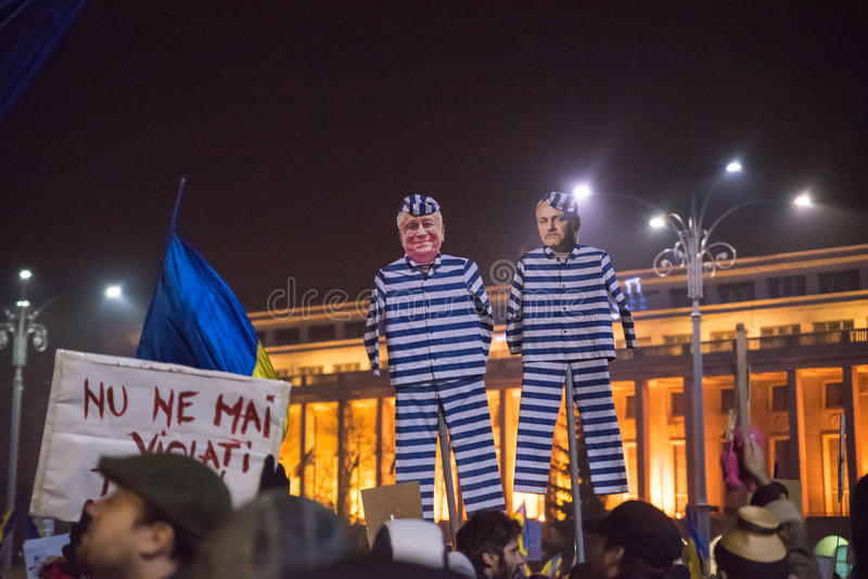 Romanians protest against government. Romanians protest against the government on February 5, 2017, in Piata Victoriei, Bucharest Romania stock photography