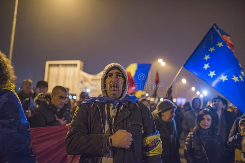 Romanians protest przeciw rzędowi obraz royalty free