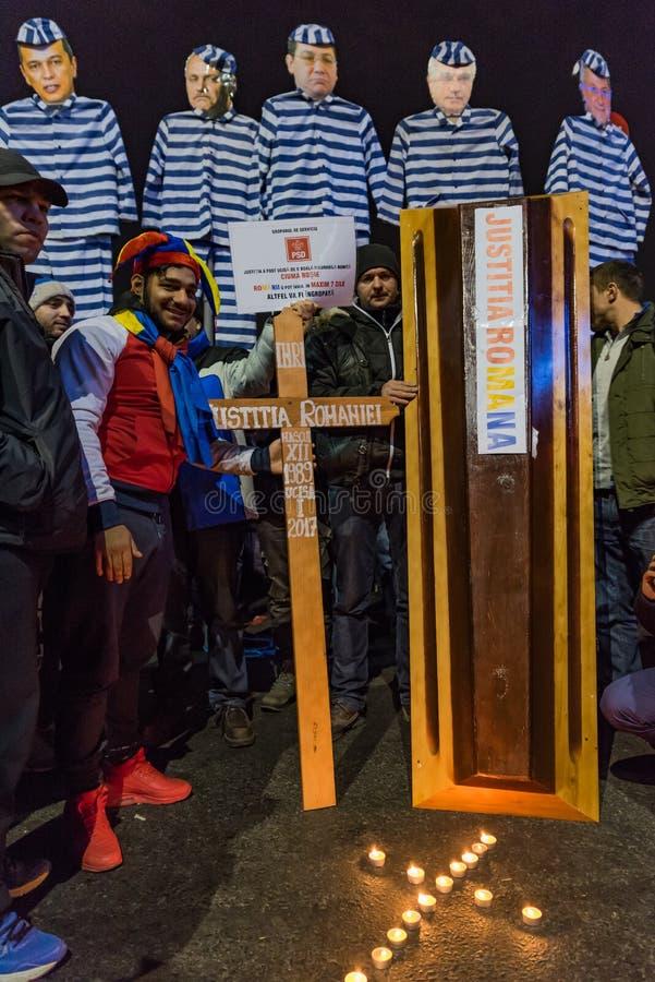 Romanians protestuje w Victoriei kwadracie obrazy royalty free