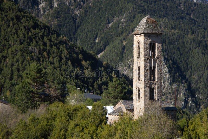 Romanic kerk van Santmiquel, Andorra stock foto's