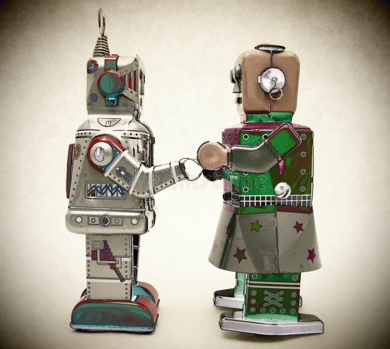 Romanitic love robot toys royalty free stock images
