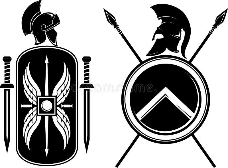 Romanos e Spartan Coat dos braços ilustração royalty free