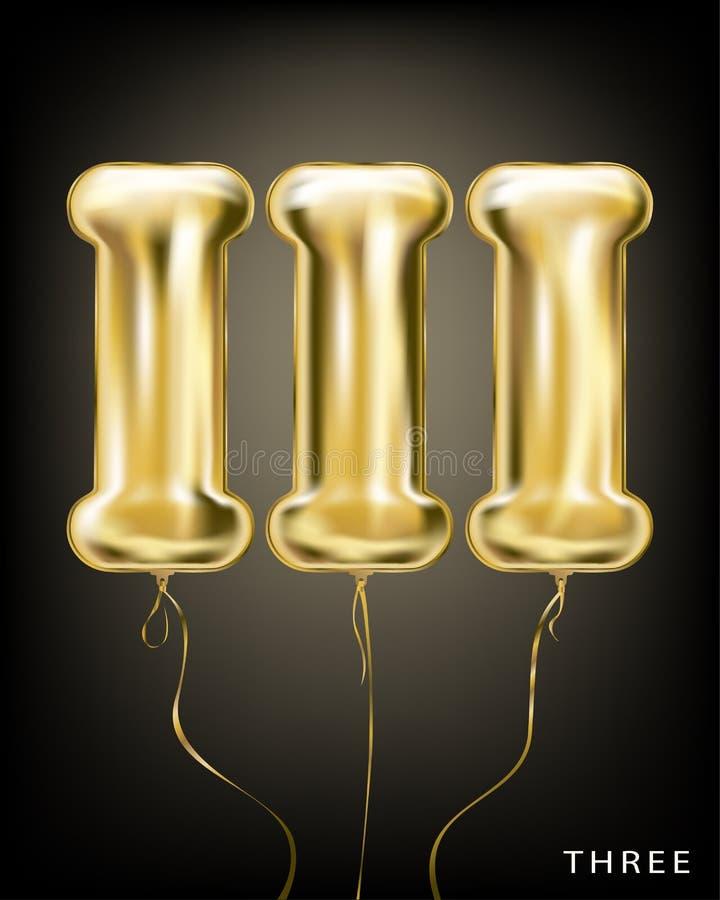 3 romanos número, forma del globo III de la hoja de oro ilustración del vector