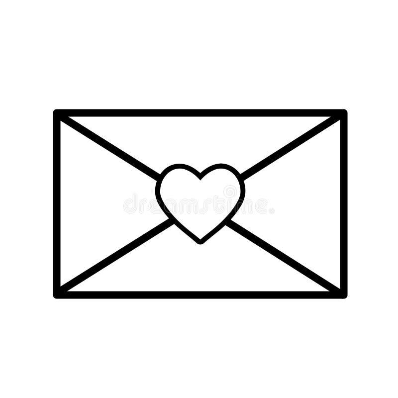 Romans för kuvertmeddelandebokstav med hjärtasymbolen, materielvektor il stock illustrationer