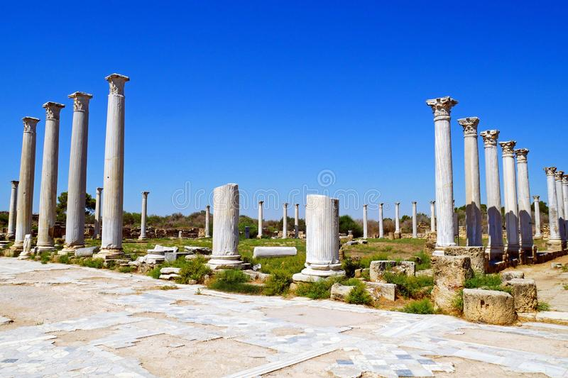 Romans ruins of the city of Salamis, near Famagusta, Northern Cyprus. royalty free stock photography