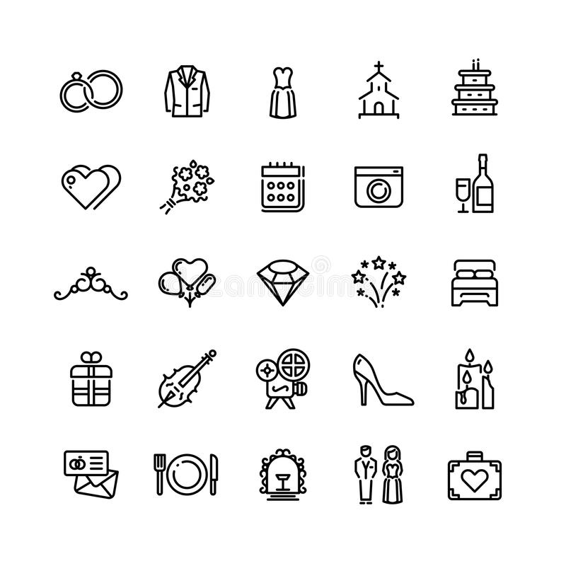 Romansk bröllopberöm och förälskelse i förbindelsevektor fodrar symboler stock illustrationer