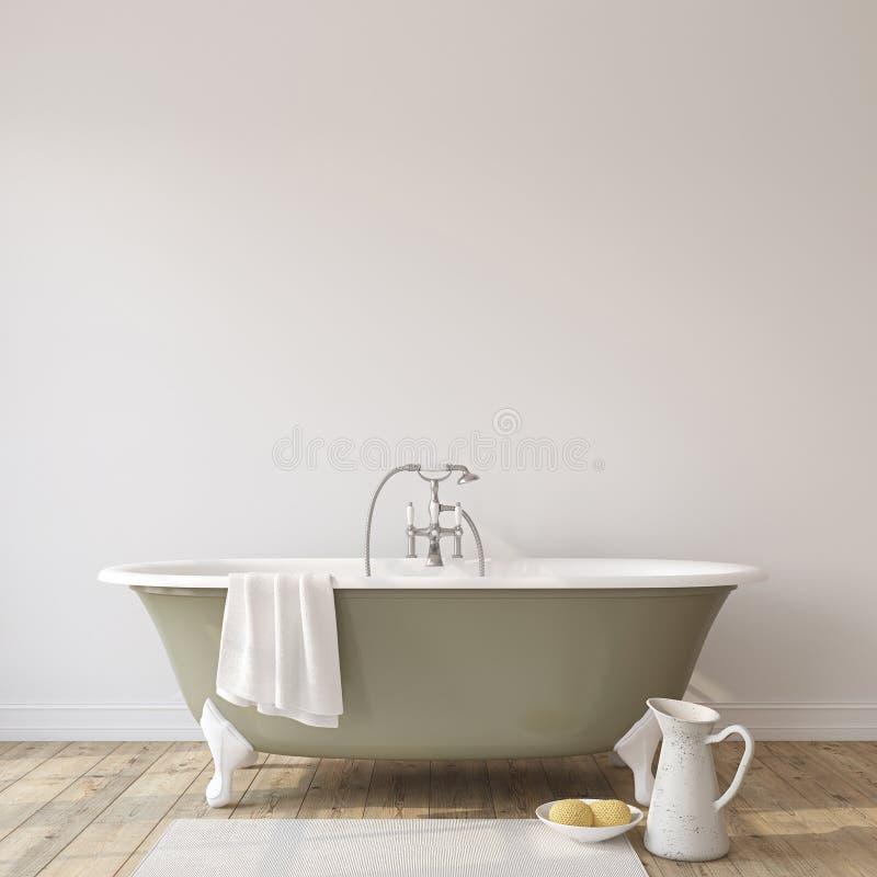 Romansowa łazienka Wewnętrzny mockup 3 d czynią royalty ilustracja