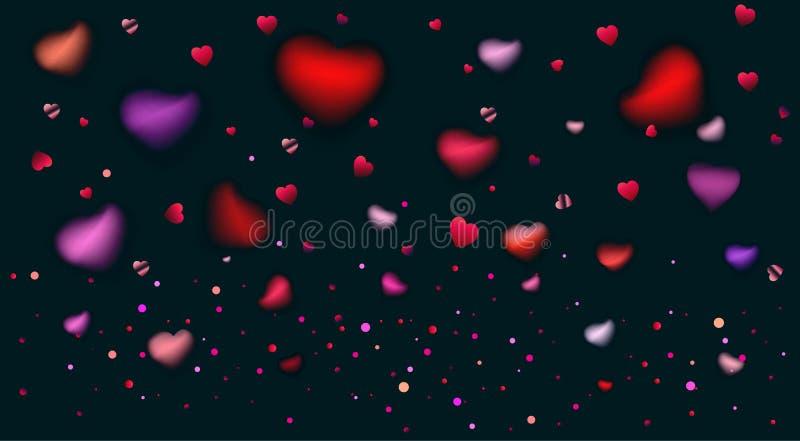 Romansowych miłość serc różanych płatków zamazani confetti royalty ilustracja