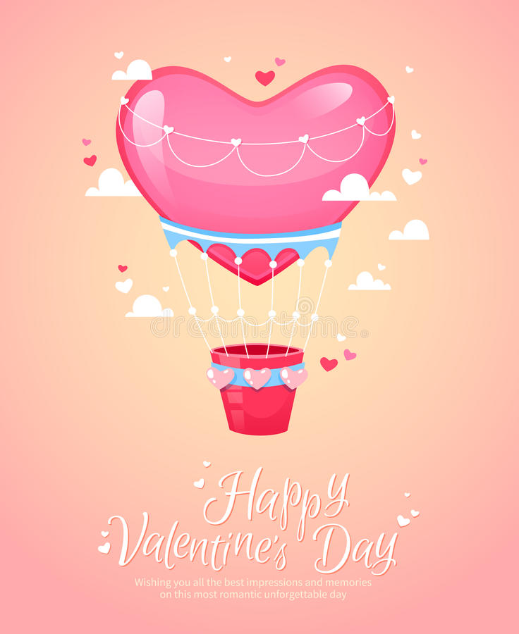 Romantic air balloon retro postcard. Romantic heart shaped air balloon retro postcard for Saint Valentine's Day royalty free illustration