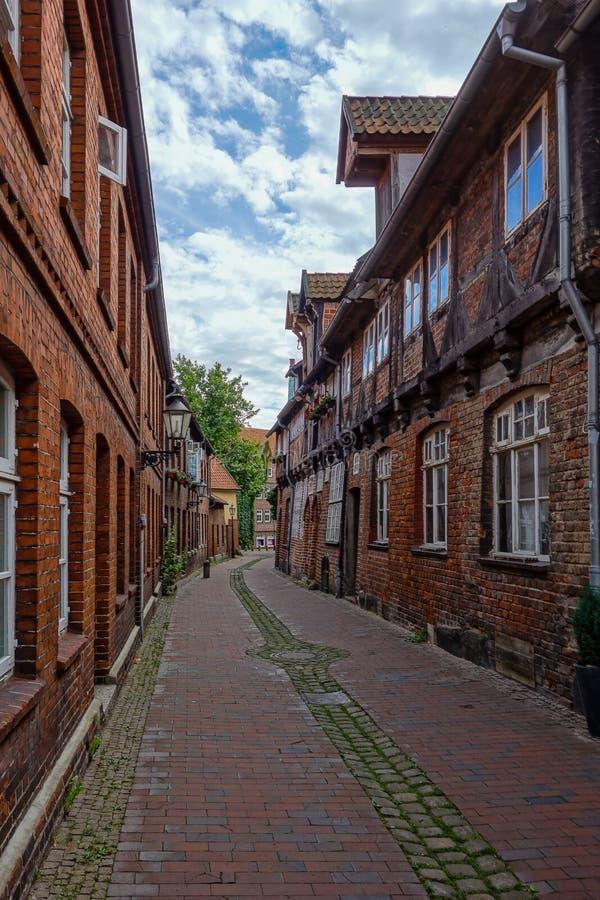 Romantic alleys in Lüneburg Germany stock photography