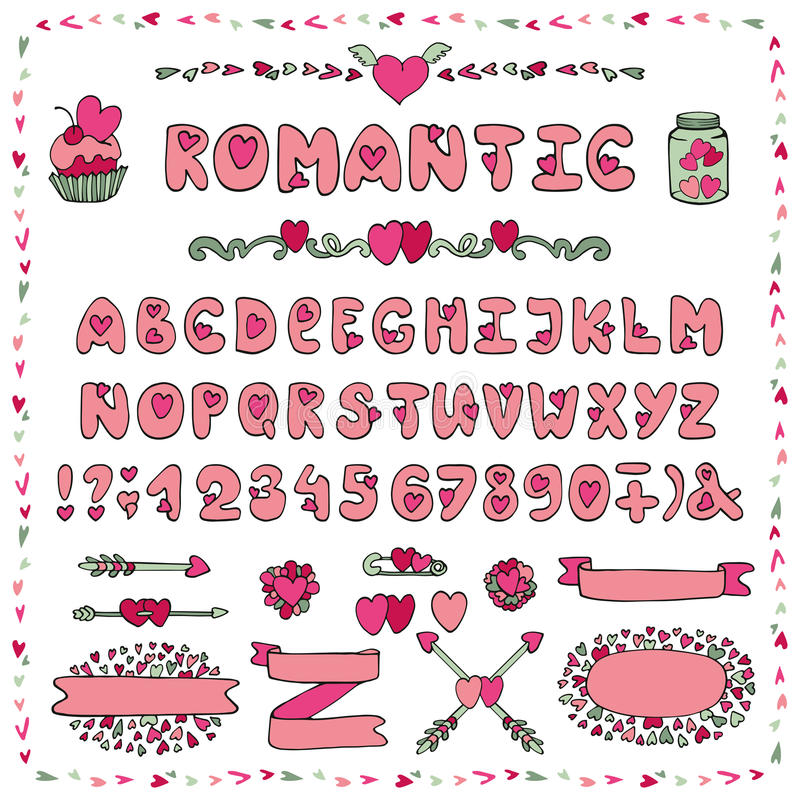 Romantic alphabet heart font abc letters decor stock for Alphabet decoration