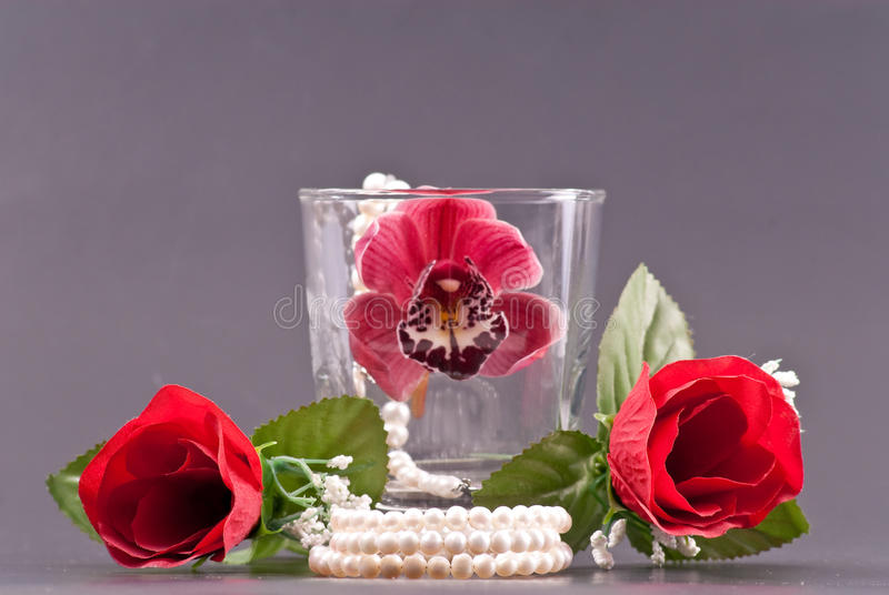 Romantic Arrangements with Pearls and Flowers stock images