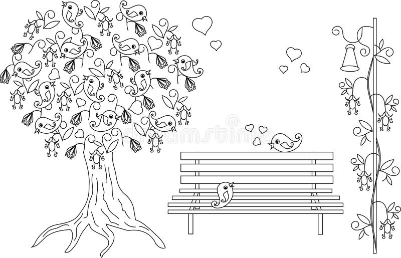 Romantic background with blooming tree, loving birds, bench, black and white hand drawn anti stress coloring book royalty free illustration