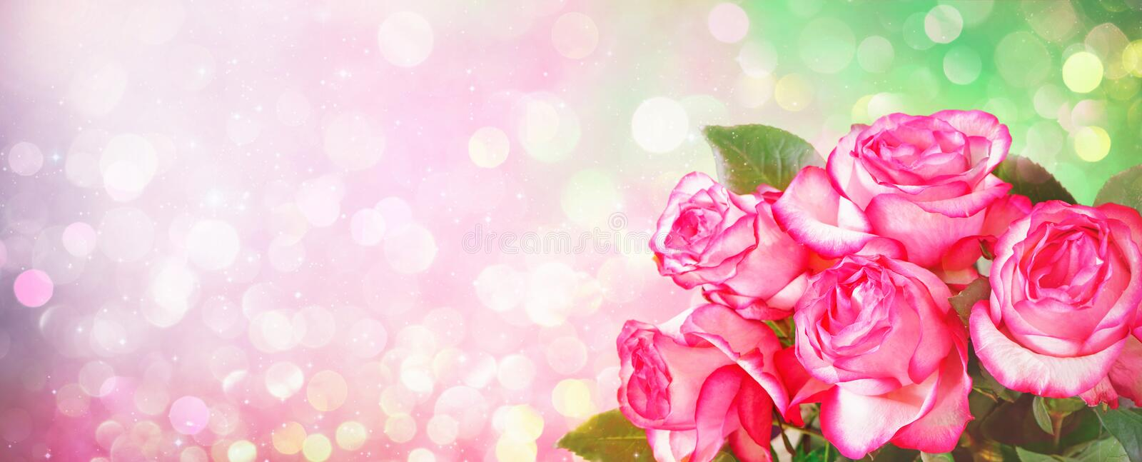 Romantic background with bouquet of pink roses for Valentines da stock photography