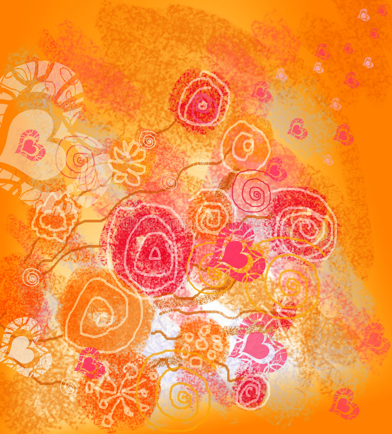 Romantic background/card imitation hand drawn stock photo