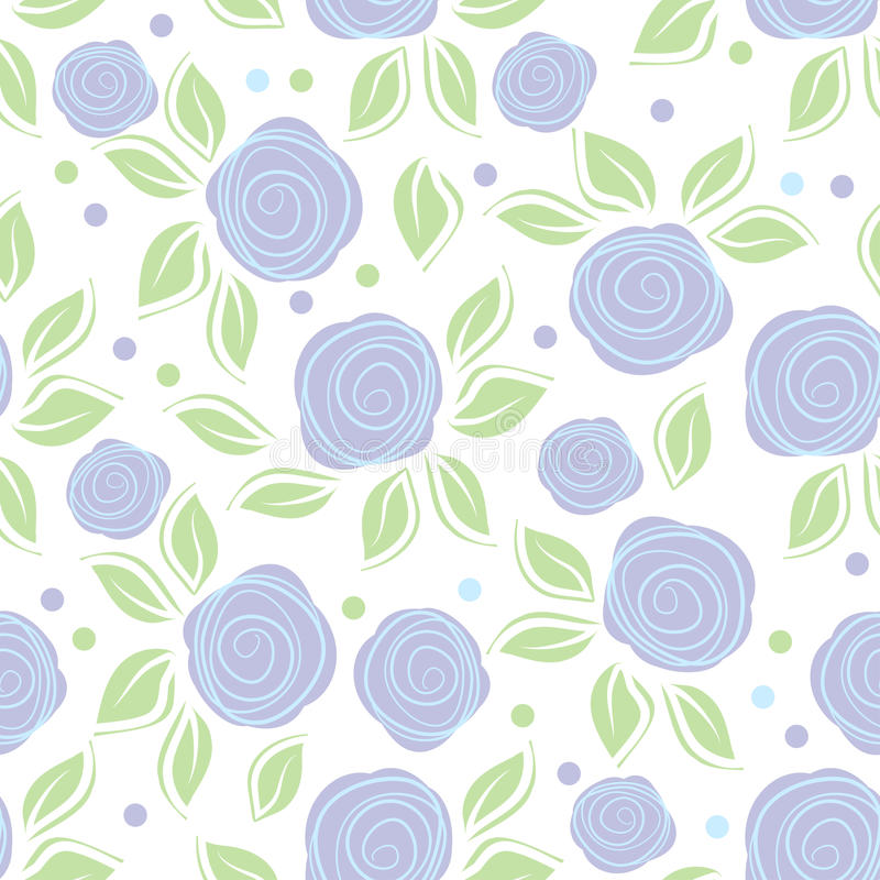 Romantic background with cute roses on white background. Cute vintage floral pattern. Vector illustration with painted flowers. Se stock illustration
