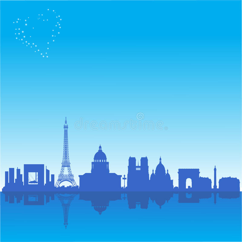 Romantic Background With Paris Silhouette Royalty Free Stock Image