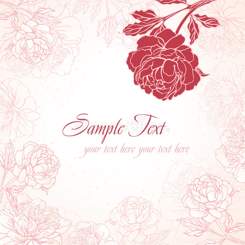 Romantic background with peonies stock illustration