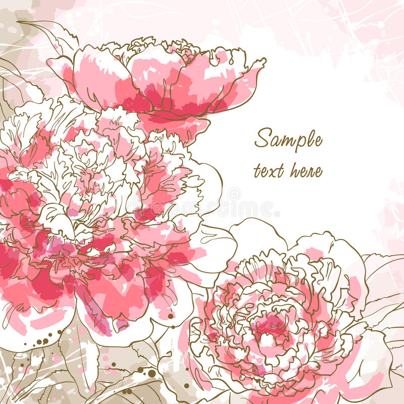 Romantic background with peony vector illustration