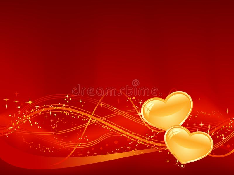 Romantic background in red with two golden hearts. Red background with wavy pattern, dots, stars and two golden hearts in the lower third. Great for your stock illustration