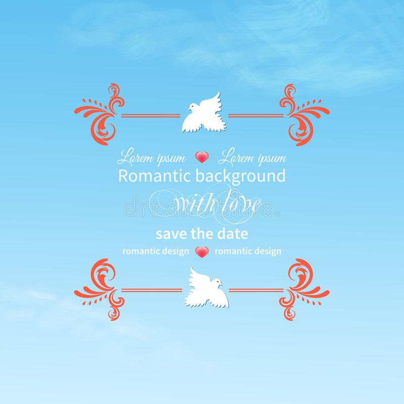 Romantic. Background sky clouds pigeons typography elements decorations royalty free illustration