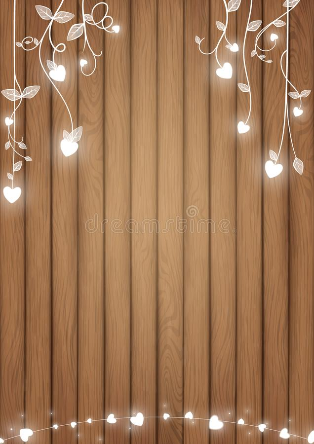 Romantic background with white glowing heart royalty free illustration