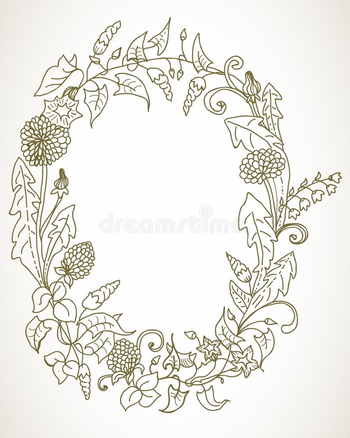 Download Romantic Background With Wild Flower Wreath Stock Vector - Image: 28809653
