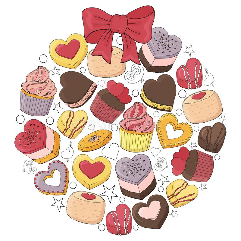 Romantic ball is made of different desserts,. Cakes, sweets and food for Valentines day. Hand drawn. Vector illustration stock illustration