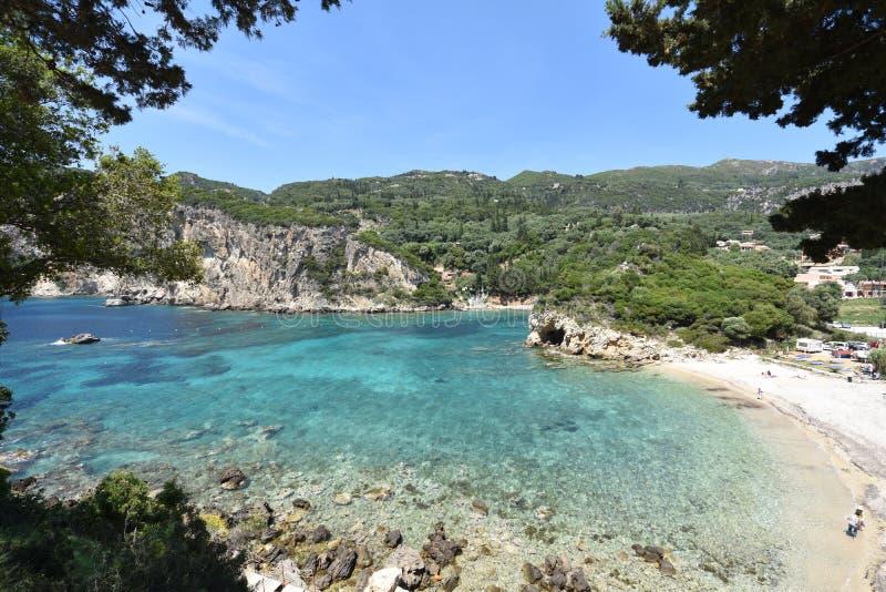 Romantic beach. On corfu royalty free stock image