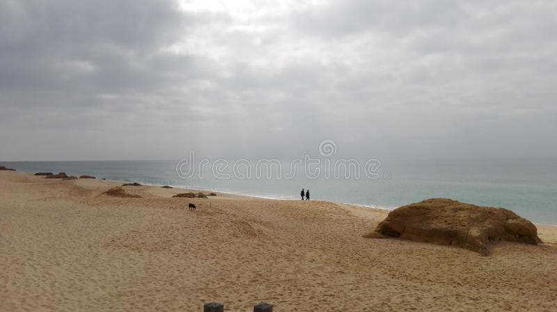 Romantic beach of dreams in Albufeira stock images