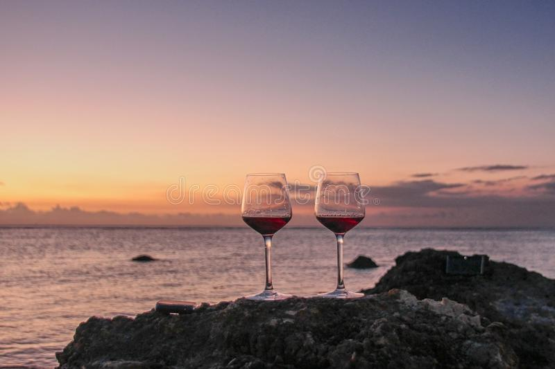 Romantic beach scene stock photos