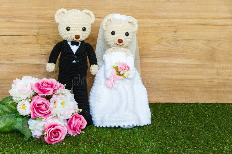 Romantic Bear on wedding Scene royalty free stock photography