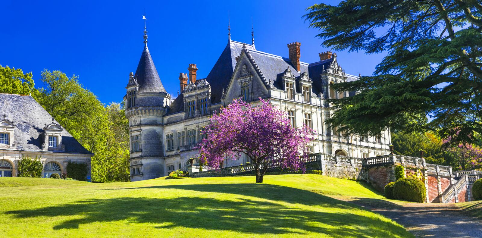Beautiful Bourdaisiere castle,view with gardens,Loire valley,France. stock photos