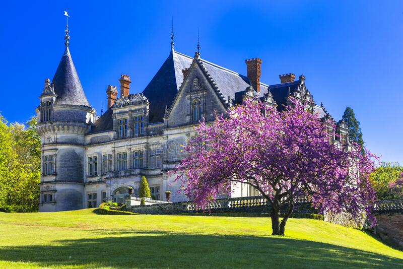 Elegant Bourdaisiere castle,view with beautiful gardens,Loire valley,France. royalty free stock photography