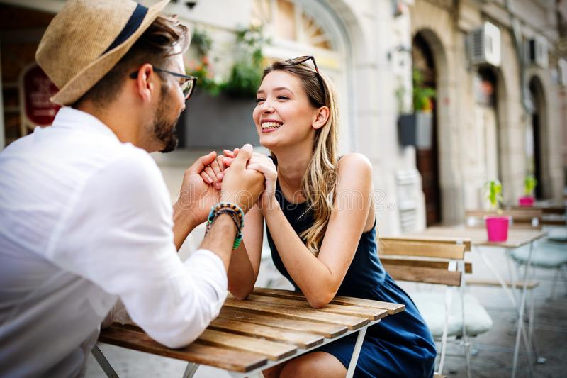 Romantic beauty portrait of happy hipster couple in love hugs and having fun royalty free stock photography