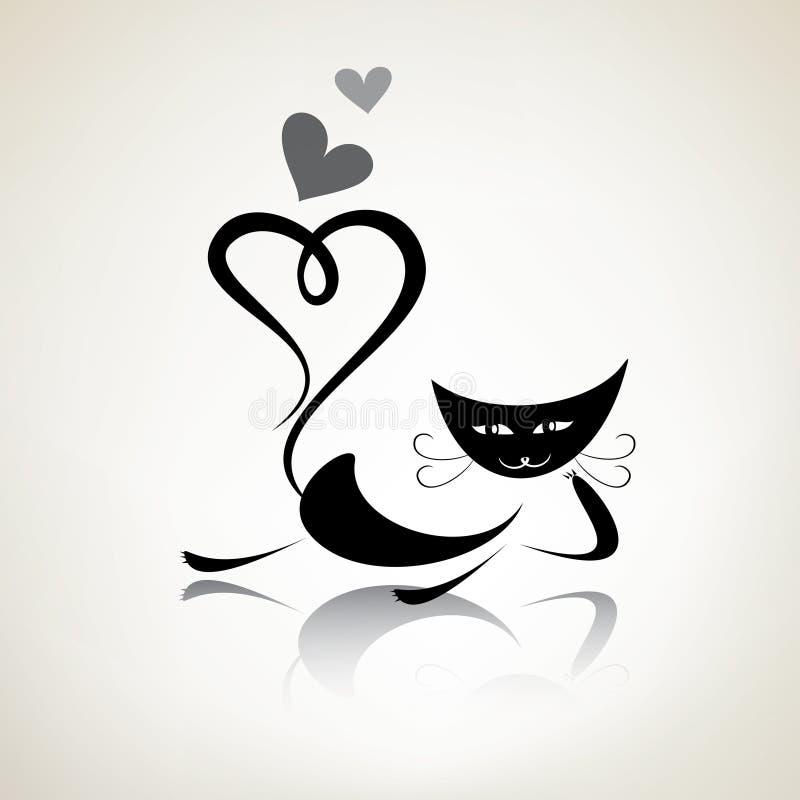 Free Romantic Black Pussycat Royalty Free Stock Image - 32987906