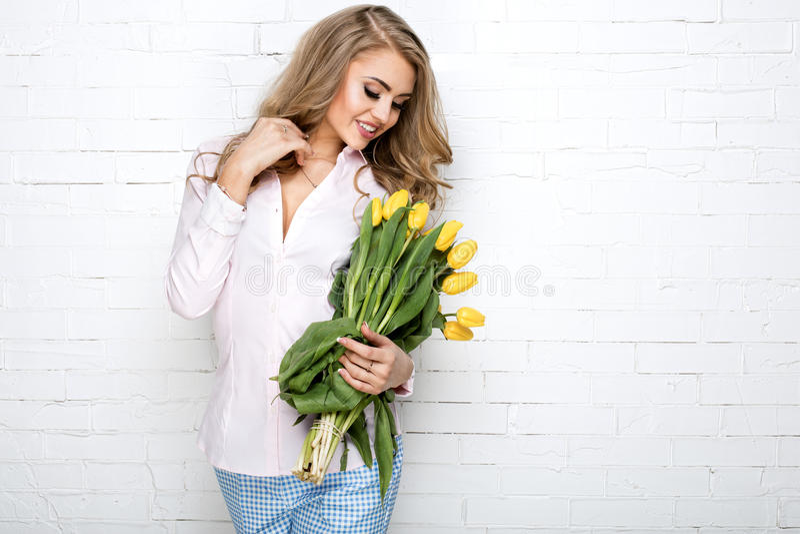 Romantic blonde lady . stock photos