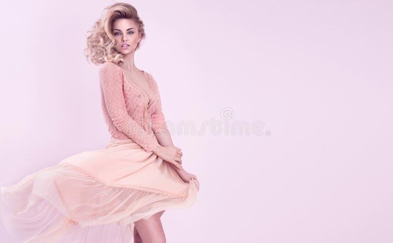 Romantic blonde woman posing. royalty free stock photography