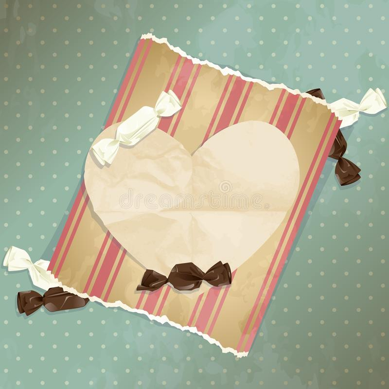 Romantic blue vintage illustration with candies. Romantic vintage illustration with paper heart and candy. Graphics are grouped and in several layers for easy vector illustration