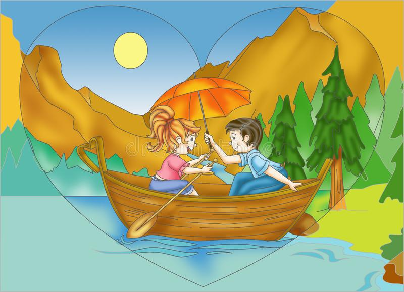 Romantic boat trip royalty free stock images