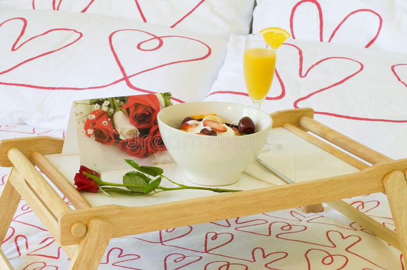 Romantic breakfast in bed royalty free stock photography
