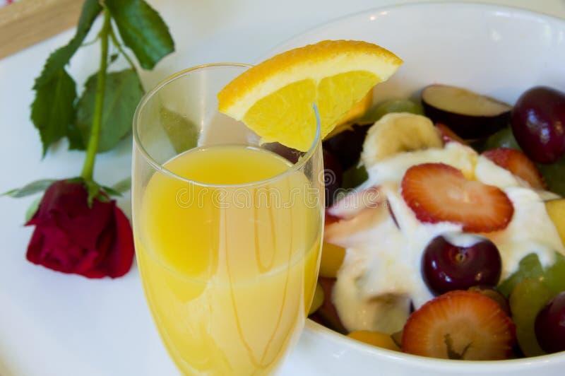 Romantic breakfast in bed stock photo