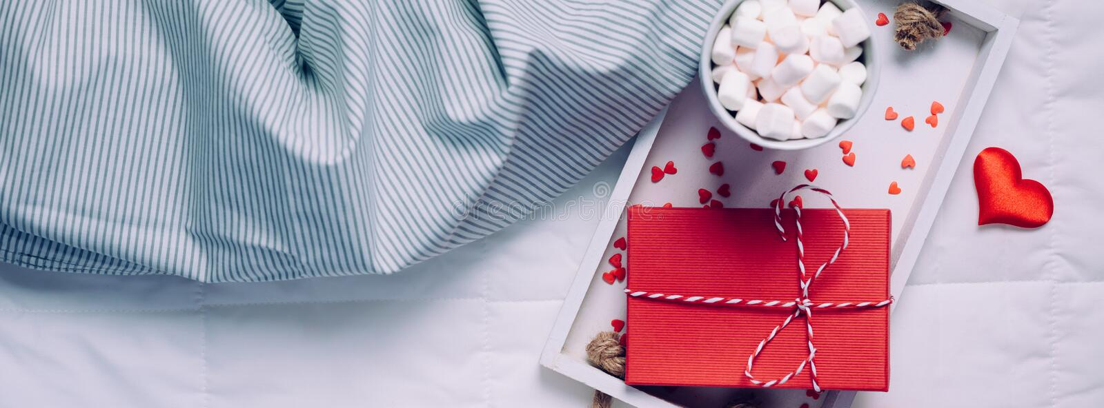 Romantic breakfast in bed. Valentine concept stock photography