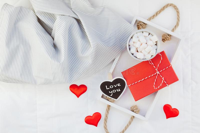 Romantic breakfast in bed. Valentine concept stock images