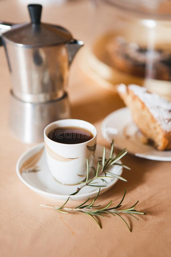 Romantic breakfast for valentines day with cup of coffee and sweetness royalty free stock photography