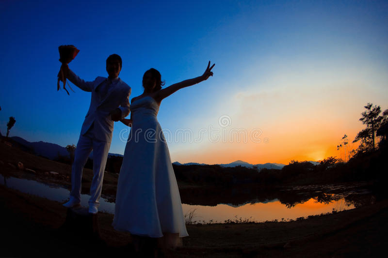 Romantic bride and groom royalty free stock image