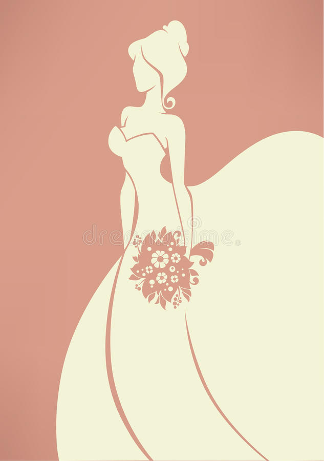 Romantic bride. Vector greeting card with image of romantic bride stock illustration