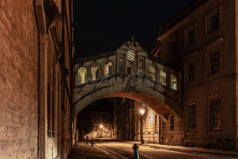 The romantic Bridge of Sighs in Oxford at night - 2 royalty free stock images